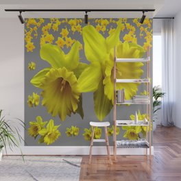YELLOW DAFFODILS CHARCOAL GREY FLORAL Wall Mural
