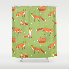Red Foxes Shower Curtain