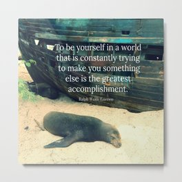 Inspiring Life quote beach theme Metal Print