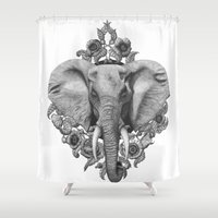 politics Shower Curtains featuring Elephant & Poppies  by K.A.L
