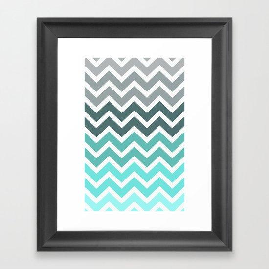 Tiffany Fade Chevron Pattern Framed Art Print