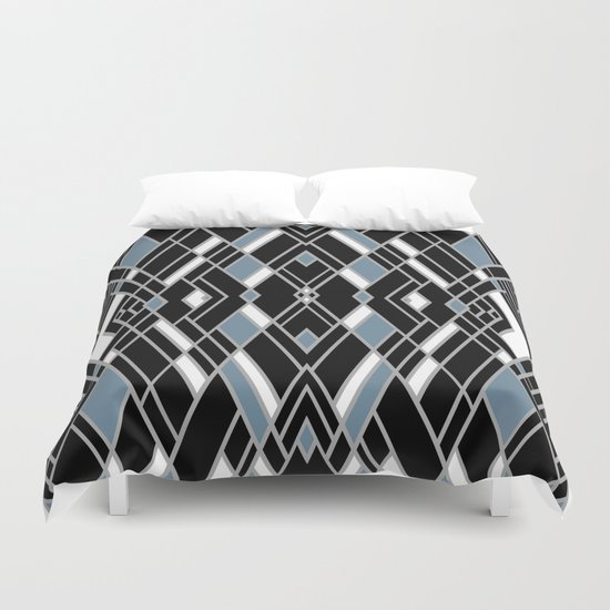 Art Deco Zoom Blue Duvet Cover
