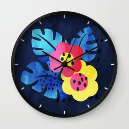 Watercolor tropical bloom Wall Clock