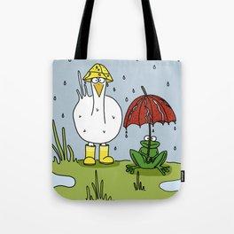 Eglantine la poule (the hen) under the rain. Tote Bag