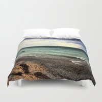 michigan Duvet Covers featuring Lake Michigan by Kari Smith Designs