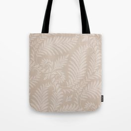 Fancy Light Tan Fern Leaves Scroll Damask on Taupe Tote Bag
