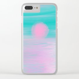 Abstract lavender teal pink watercolor sunset Clear iPhone Case