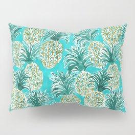 AQUA PINEAPPLE O'CLOCK Tropical Hawaiian Watercolor Pillow Sham