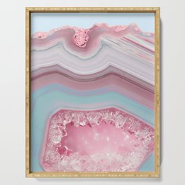 Blush and Teal Agate Serving Tray