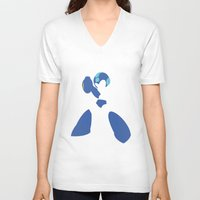 megaman V-neck T-shirts featuring Megaman by JHTY