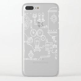 Science Steampunk gear blueprint Clear iPhone Case
