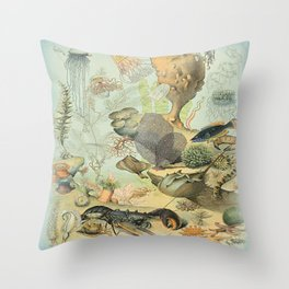 SEA CREATURES COLLAGE, OCEAN ILLUSTRATION Throw Pillow