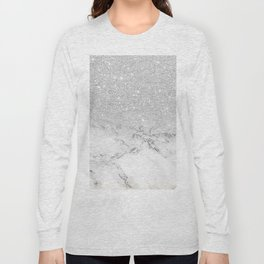 Modern faux grey silver glitter ombre white marble Long Sleeve T-shirt