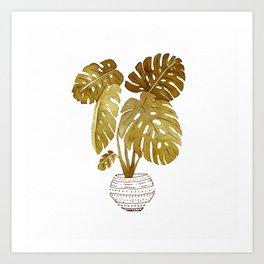 Golden  Monstera Plant Art Print