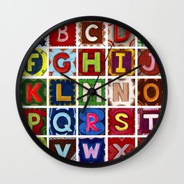Alphabet fun letters without the letter Z Wall Clock