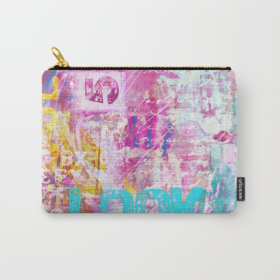 colorful mixed media typography Carry-All Pouch