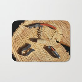 corkscrew with wine corks Bath Mat