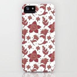 The Burgundy Batik Flowers iPhone Case
