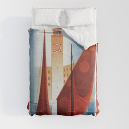Art deco vintage Italian travel Riva Torbole Lake Garda Comforters