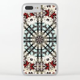 Vintage Distressed Mandala Design with hearts Clear iPhone Case