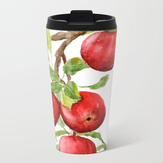 red apple Metal Travel Mug