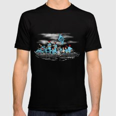 Team Zissou Crossing the Delaware LARGE Black Mens Fitted Tee