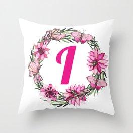 letter i monogram pink flower wreath butterfly Throw Pillow