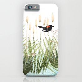 Red Winged Black Bird & Botanicals iPhone Case