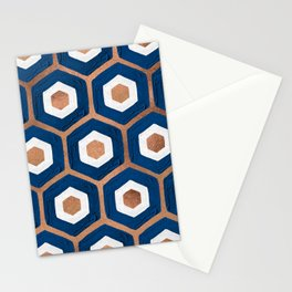 Hexagon Honeycomb Pattern – Denim & Rose Gold Palette Stationery Cards