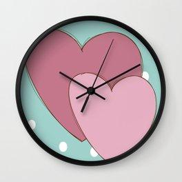 Cute Hearts Wall Clock