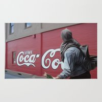 coca cola Area & Throw Rugs featuring Coca Cola Wars by Vin Zzep
