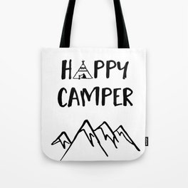 Happy Camper quote + Mountain for Kids Room Tote Bag