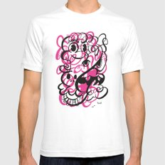Happy doodle do! Pink version SMALL White Mens Fitted Tee
