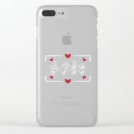 Love Finger Sign Language design ASL Valentine's Day Gift Clear iPhone Case