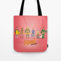 dungeons and dragons Tote Bags featuring Dungeons and Dragons - Pixel Nostalgia by Boo! Studio