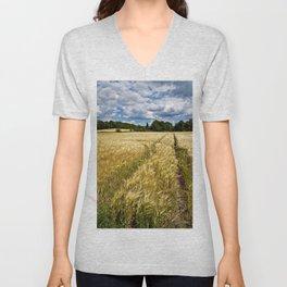 Golden wheat field poetry Unisex V-Neck