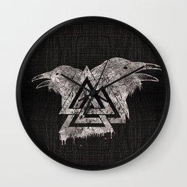 Valknut Symbol and Raven Wall Clock