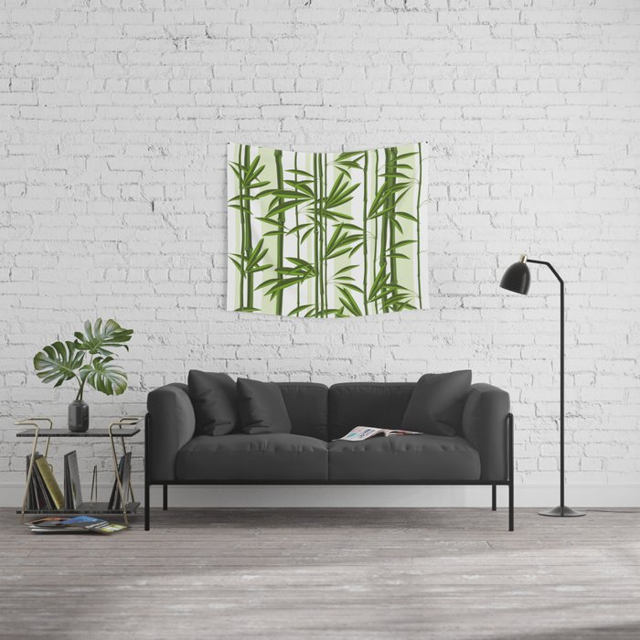 Green bamboo tree shoots pattern Wall Tapestry