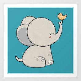 Kawaii Cute Elephant Art Print