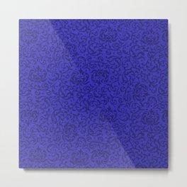 Vintage Cobalt Blue Floral Metal Print