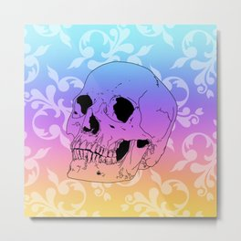 Sunset Skull Pattern Metal Print