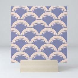 Japanese Fan Pattern Lavender and Beige Mini Art Print