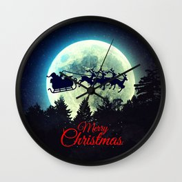 Santa in The Night Sky Wall Clock