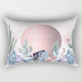 Desert Sun + Gemstones Rose Gold Pink Watercolor Rectangular Pillow