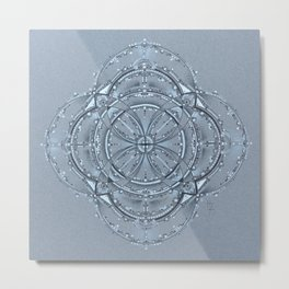 Silver and Black Mandala Metal Print
