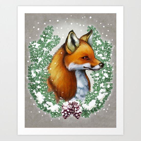 Snowy Fox Art Print
