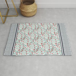 Little Flowers in Red, Blue and Plaid Print - Indian Floral Collection Rug
