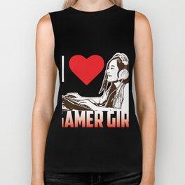 Gamer Girl with Heart Biker Tank