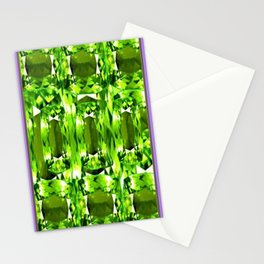 August Babies Peridots Birthstone Abstract Purple Design Stationery Cards
