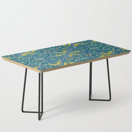 Blue Vines and Folk Art Flowers Pattern Coffee Table